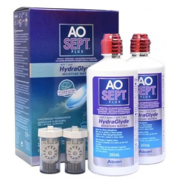 Aosept Plus Hydraglyde - 2 x 360ml. from www.interlenses.com